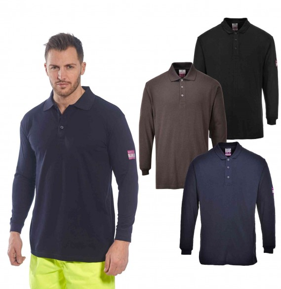 FLAME RESISTANT ANTI-STATIC LONG SLEEVE POLO SHIRT - FR10