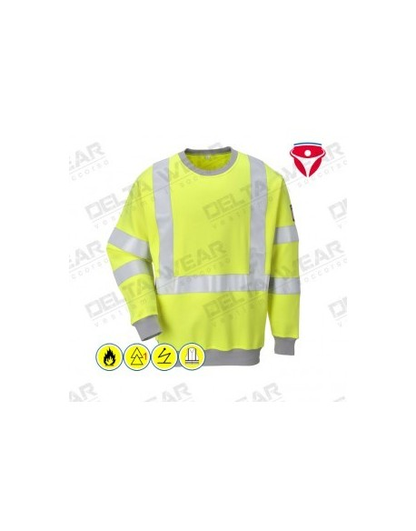 FLAME RESISTANT ANTI-STATIC HI-VIS SWEATSHIRT - FR72