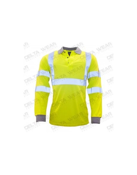 FLAME RESISTANT ANTI-STATIC HI-VIS LONG SLEEVE POLO SHIRT - FR77