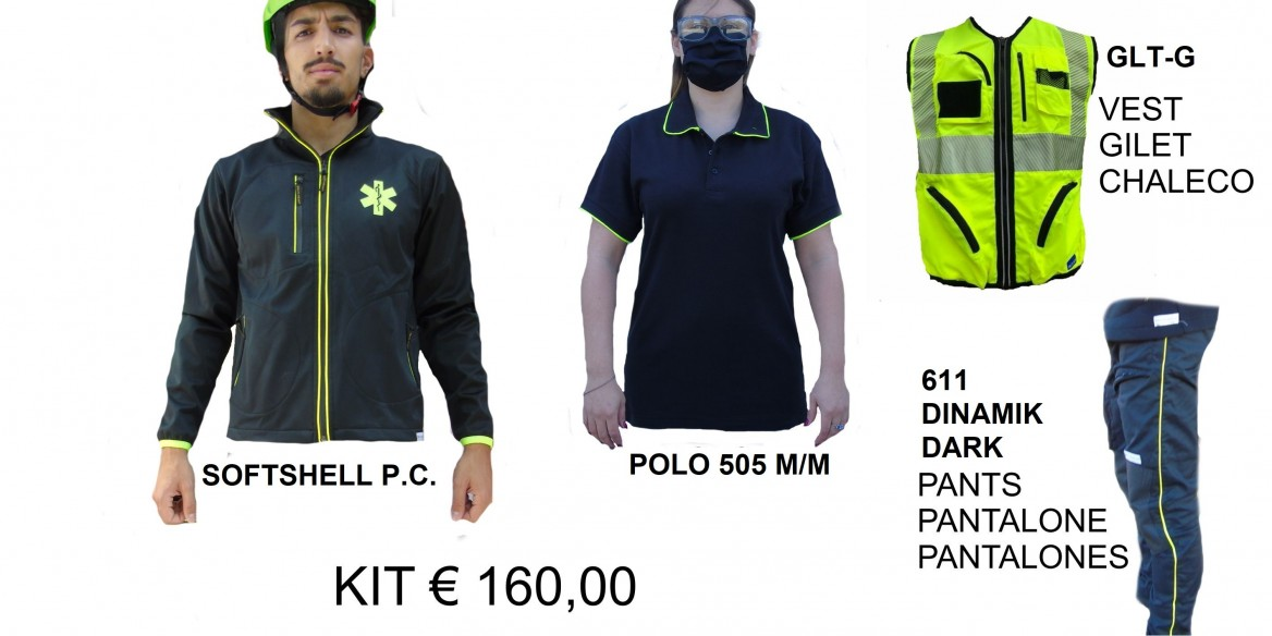 KIT SOFTSHELL + POLO + GILET + PANTALONE